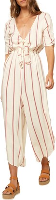 O'Neill Sincerely Stripe Tie Front Jumpsuit
