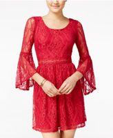 Amy Byer Juniors' Bell-Sleeve Lace Dress