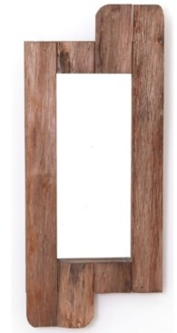 """Vintiquewise Rustic Natural Barn Wood Framed Wall Mirror, 28"""" High"""