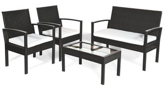 Latitude Run Annchen Patio 4 Piece Rattan Sofa Seating Group with Cushions