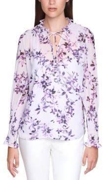 Calvin Klein Size Floral-Print Smocked Top