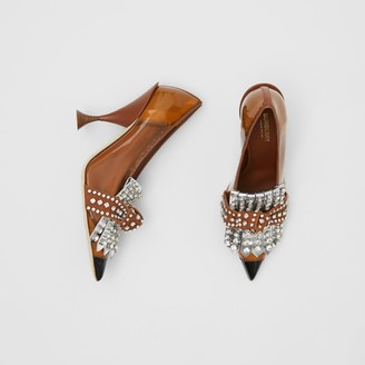 Burberry Crystal Kiltie Fringe Vinyl and Leather Point-toe Pumps