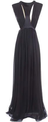 Alberta Ferretti Black Silk Draped Long Dress