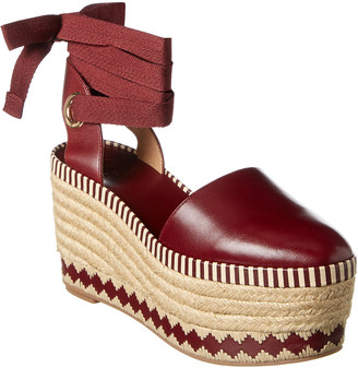 Tory Burch Dandy Leather Wedge Espadrille