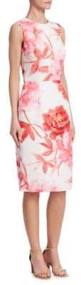 David Meister Floral Print Sleeveless Dress