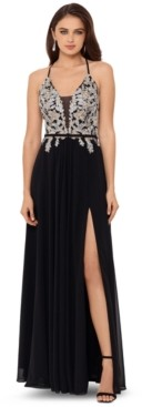 Betsy & Adam Embellished Lace-Up Gown