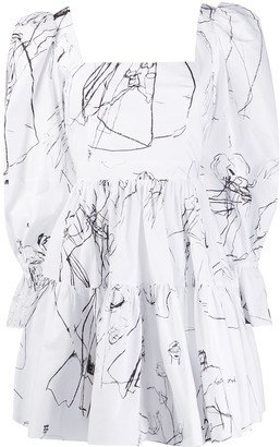 Alexander McQueen Illustrated Ruffle Dress
