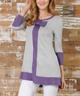 Celeste Heather Gray & Lilac Bow-Accent Three-Quarter Sleeve Tunic