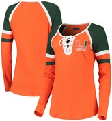 New Era Women's 5th & Ocean by Orange Miami Hurricanes Lace-Up Raglan Long Sleeve T-Shirt