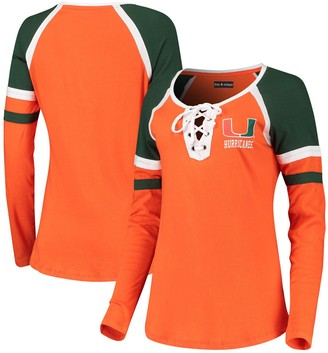New Era Women's 5th & Ocean by Orange Miami Hurricanes Lace-Up Raglan Long Sleeve T-Shirt