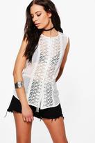 Boohoo Kaylee Tie Waist Crochet Shirt