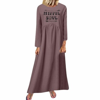 LOPILY 2019 Maxi Dress Crew Neck Long Sleeve Casual Floor Length Skirt to The Ankle Solid Color Chic Boho Baggy Plus Size Gowns(T1-Army Green 5XL)