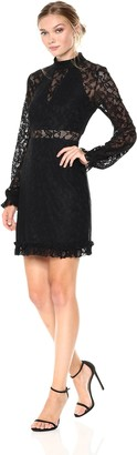 Laundry by Shelli Segal Women's Lace Dress with Ruffle Hem and Sleeves