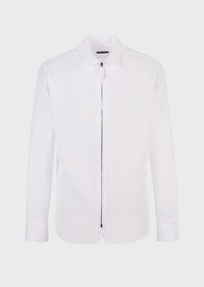 Giorgio Armani Slim-Fit Seersucker Shirt With Zip