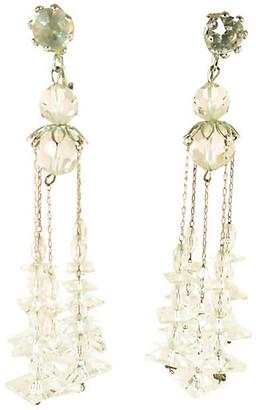 One Kings Lane Vintage 1950s Crystal Chandelier Earrings - Neil Zevnik - silver/clear