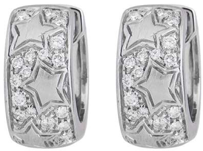 Chimento Exquisitely Detailed 18k White Gold Stars And Diamond Huggie Earrings