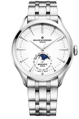 Baume & Mercier Clifton Baumatic Stainless Steel Date Moon Phase Bracelet Chronometer Watch