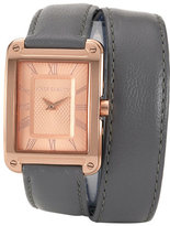 Vince Camuto Double Wrap Leather Strap Watch, 29mm x 34mm