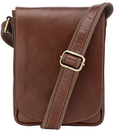 John Lewis Leather Reporter Bag, Brown