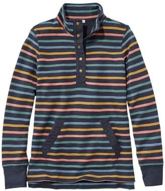 L.L. Bean Women's Rocky Coast Sweatshirt, Snap Henley Stripe