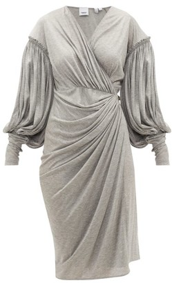 Burberry Draped-front Balloon-sleeve Jersey Dress - Womens - Grey