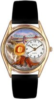 Whimsical Watches Kids' C0110005 Classic Gold Ranch Black Leather And Goldtone Watch