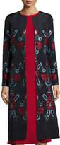 Oscar de la Renta Cross-Stitch Embroidered Silk Coat, Blue