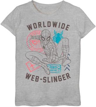 Spiderman Licensed Character Girls 7-16 Marvel World Wide Web Slinger Poster Graphic Tee