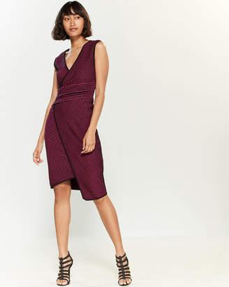 RVN Jacquard Stripe Wrap Dress