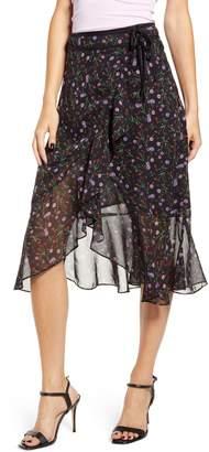 J.o.a. Floral Wrap Midi Skirt