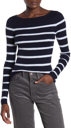 360 Cashmere Karlee Striped Rib Knit Top