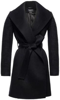 Sentaler Mid-Length Shawl Collar Rib-Knit Cuff Wrap Coat