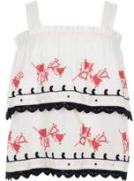River Island Girls white embroidered tiered frill cami top