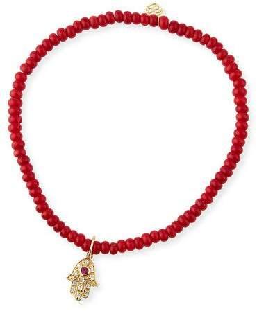 Sydney Evan 3mm Beaded Coral Bracelet with Diamond Hamsa Pendant