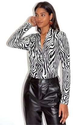 Liquorish Black & White Zebra Print Bodysuit