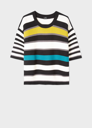 Paul Smith Women's Black And White Stripe Knitted Cotton Top