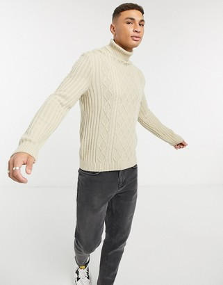 ASOS DESIGN cableknit rollneck sweater in oatmeal