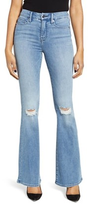Good American Good Flare Ripped Jeans (Regular & Plus Size)