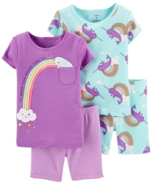 Carter's Toddler Girls Narwhal Snug Fit Pajama Set, 4 Piece