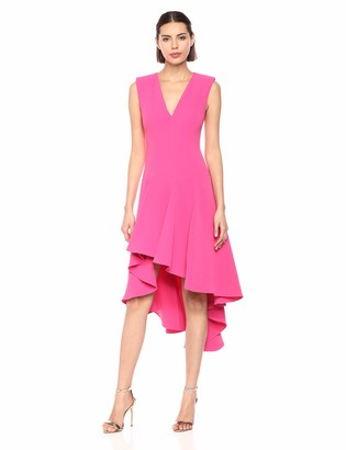 Halston Women's Sleeveless V Neck Flowy Hi Lo Crepe Dress