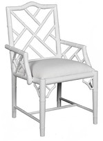 the well appointed house white lacquer chippendale inspired arm chair