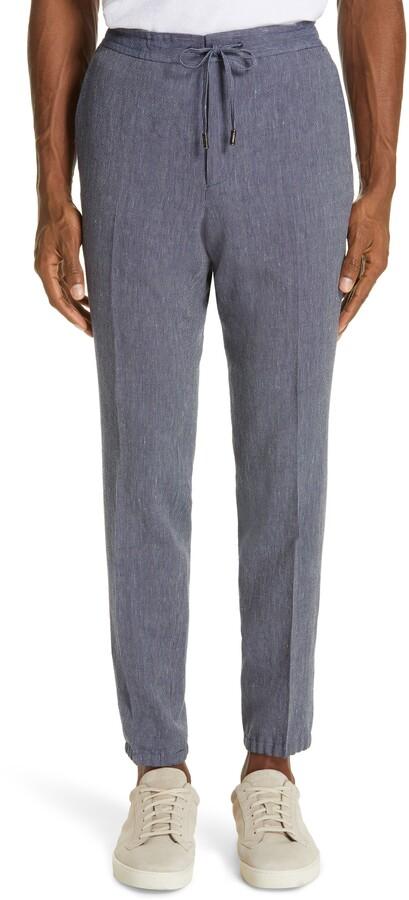 df64f859 Slim Fit Seersucker Linen & Cotton Jogger Dress Pants