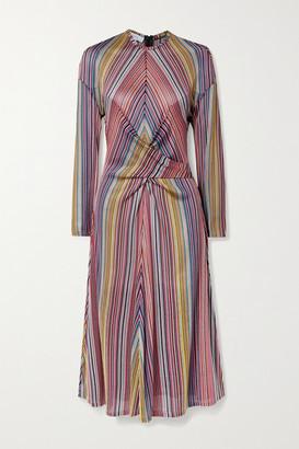 Beaufille Aquila Twist-front Striped Stretch Jacquard-knit Midi Dress - Magenta