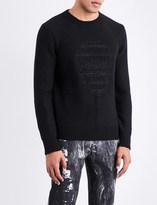 Alexander McQueen Skull-intarsia wool and cashmere-blend jumper