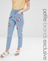 Liquor & Poker Petite Mom Jeans With Multi Sequin Badges
