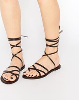 Park Lane Ankle Tie Leather Flat Sandals