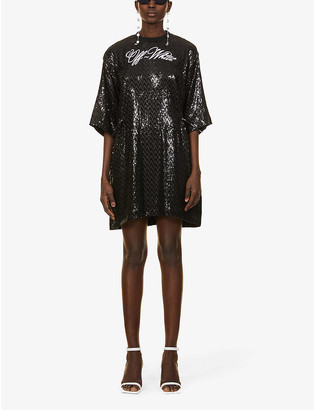 Off-White Coulisse logo-print sequinned mini dress