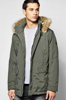 Boohoo Hooded Parka Jacket With Borg Lined Hood