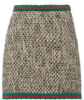 Gucci Web-stripe Wool-blend Tweed Mini Skirt - Womens - Black Multi