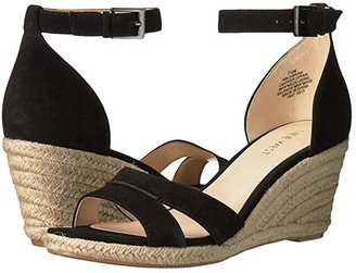Nine West Jabrina Espadrille Wedge Sandal (Black Suede) Women's Shoes